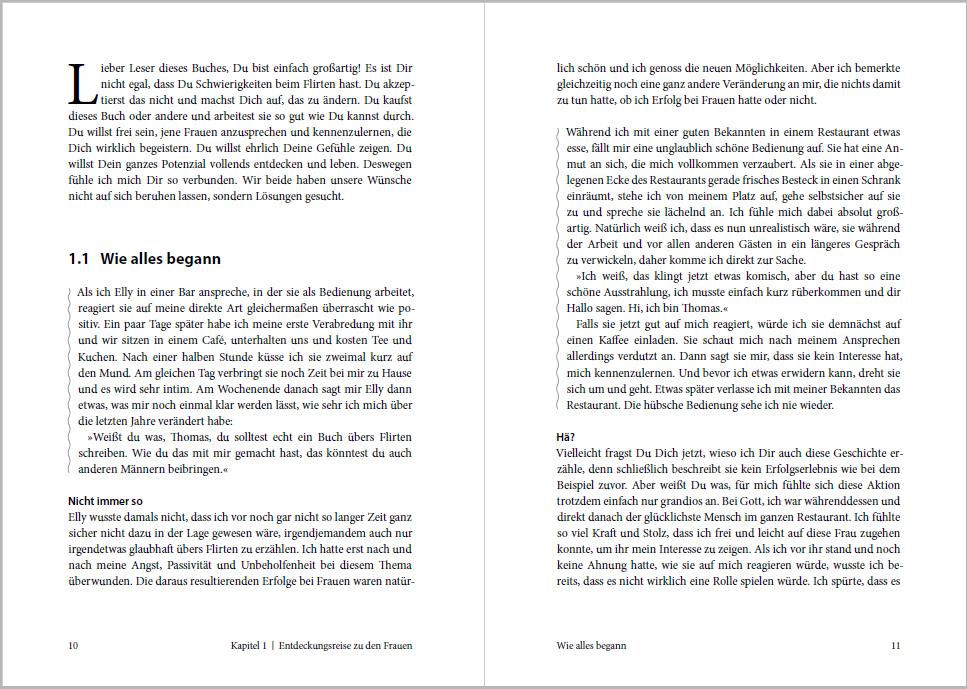 """Initialbuchstaben und Absatzlinien: abwechslungsreiche Typografie im Buch """"Der Besserflirter"""" von Thomas Frank"""