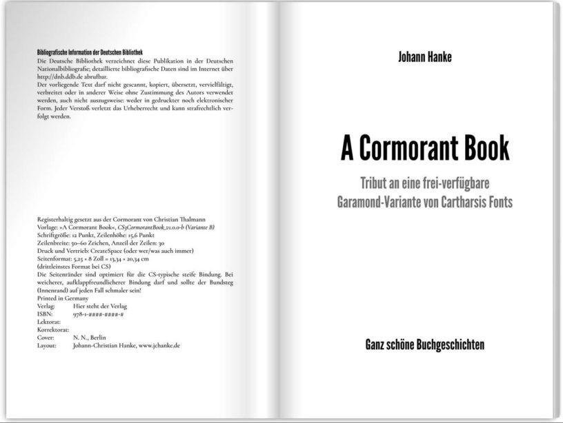 A Cormorant Book: Neue Belletristik-Wordvorlage für CreateSpace und KDP von Johann-Christian Hanke