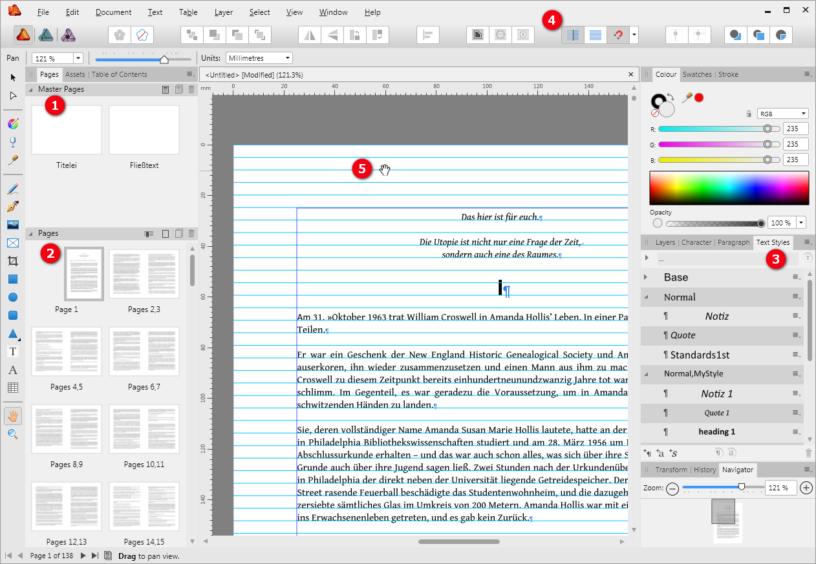 Programmfenster von Affinity Publisher: Satz eines Romans mit Masterseiten und Grundlinienraster