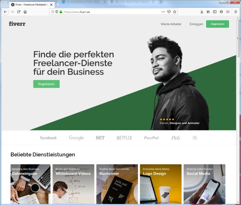 Auf Fiverr bieten Freiberufler ihre Dientleistungen an (Screenshot: J.-Chr. Hanke)