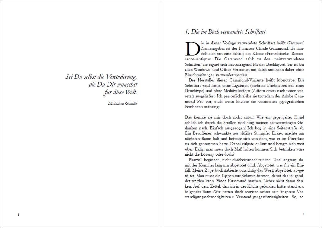 Der Anfang des Buches (Vorlage »Bonjour Monsieur Claude Garamond«)