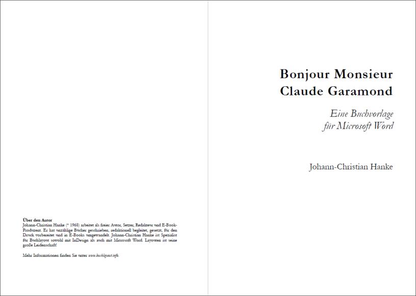 Titelei der Vorlage »Bonjour Monsieur Claude Garamond«
