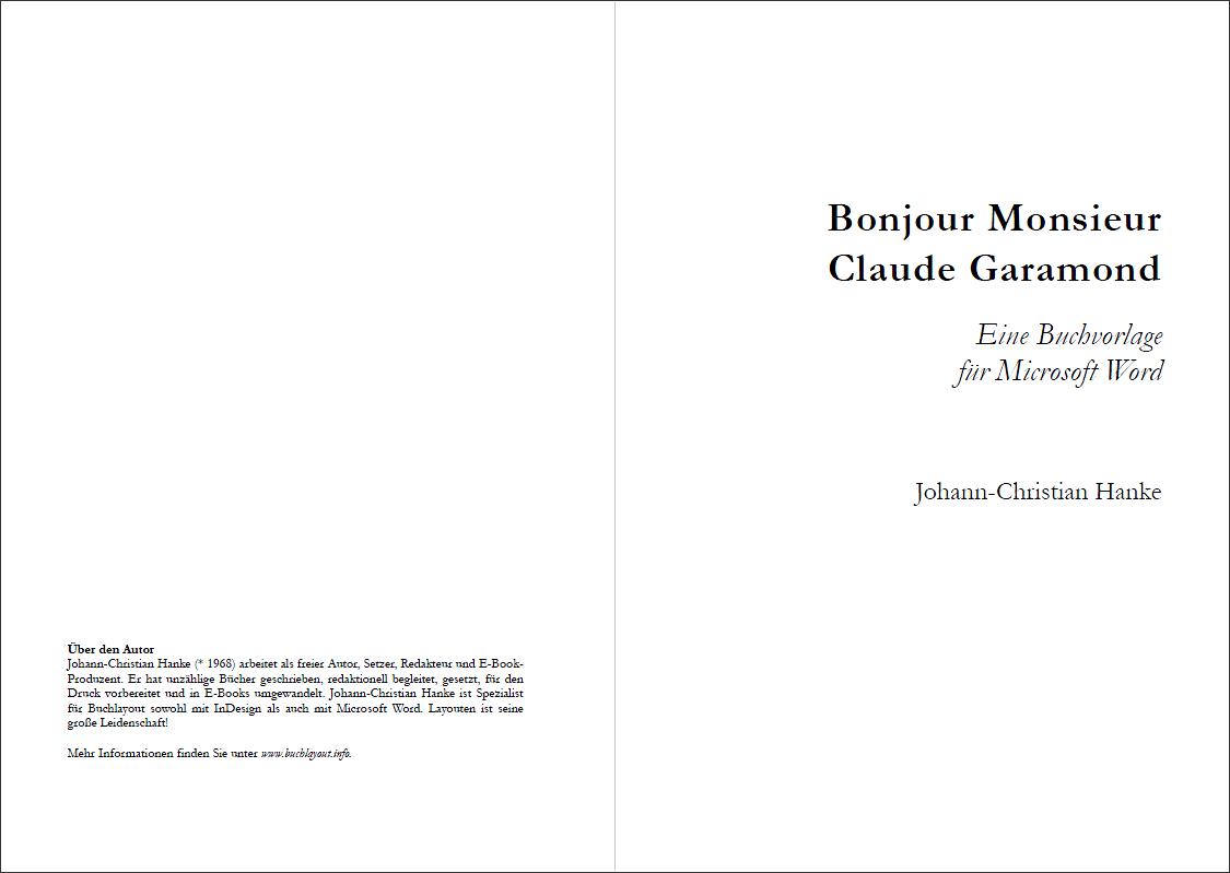 """Elegante Taschenbuchvorlage in A5: """"Bonjour Monsieur Claude ..."""