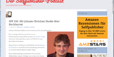 Buchlayouter Johann zu Gast bei Henri Apell im Selfpublisher-Podcast