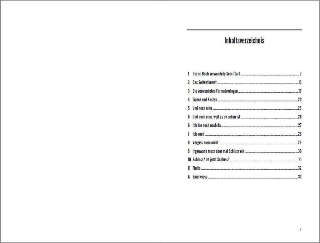 Inhaltsverzeichnis der Vorlage »A Cormorant Book«, Variante A