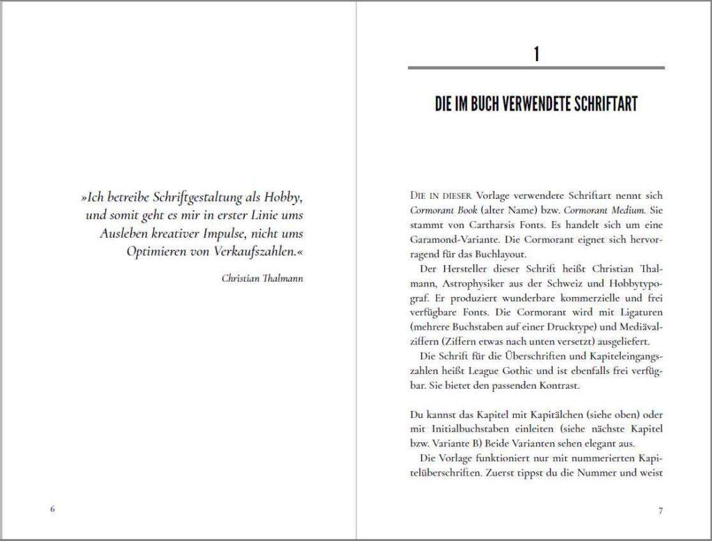 Kapitelstart der Vorlage »A Cormorant Book«, Variante A mit echten Kapitälchen