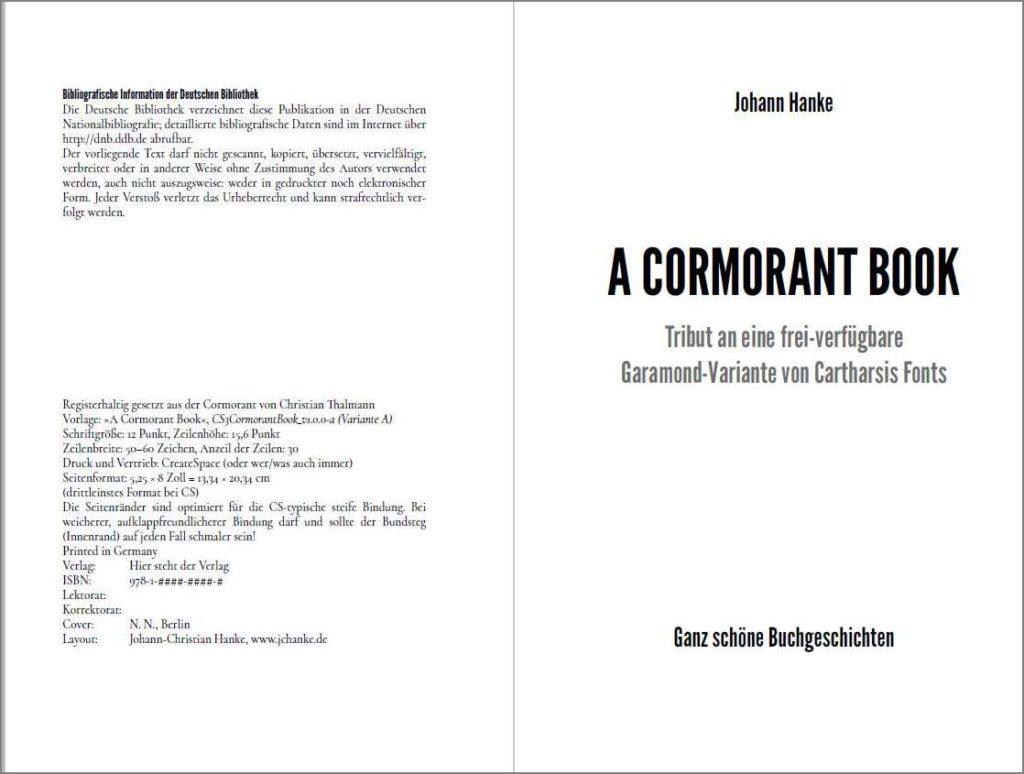 Titel der Vorlage »A Cormorant Book«, Variante A