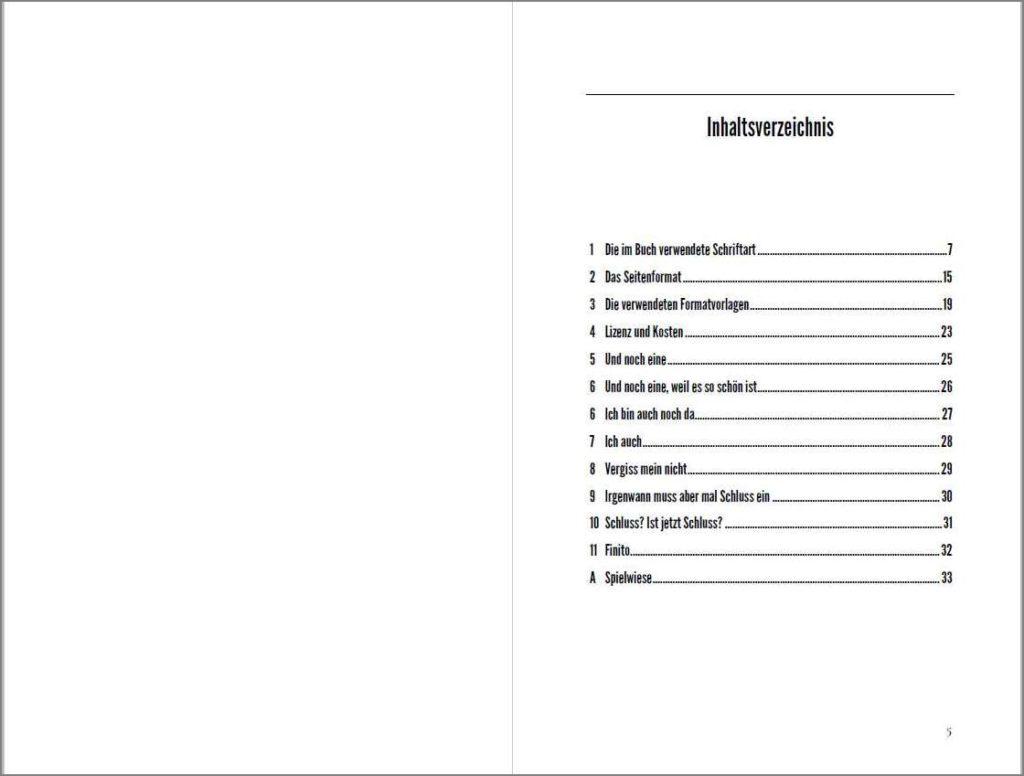 Inhaltsverzeichnis der Vorlage »A Cormorant Book«, Variante B