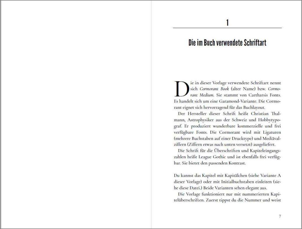 Kapitelstart der Vorlage »A Cormorant Book«, Variante B mit Initialbuchstaben