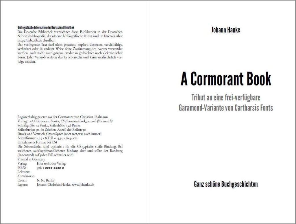 Titel der Vorlage »A Cormorant Book«, Variante B