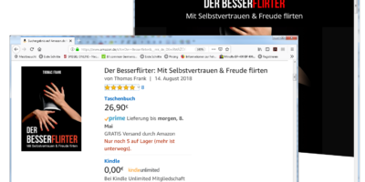 Buch Der Besserflirter: sehr beliebt bei den Amazon-Lesern (Website-Screenshots: J.-Chr. Hanke)