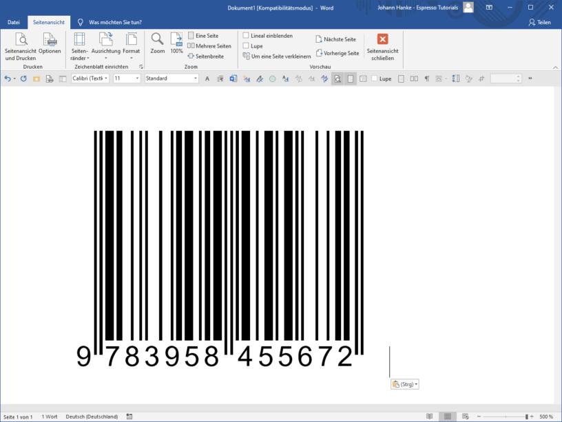 So erzeugst du einen ISBN-Strichcode mit Word für Windows