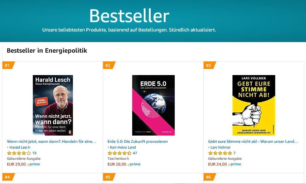 Karl-Heinz Land's Buch Erde 5.0. Die Zukunft provozieren als Bestseller auf Amazon
