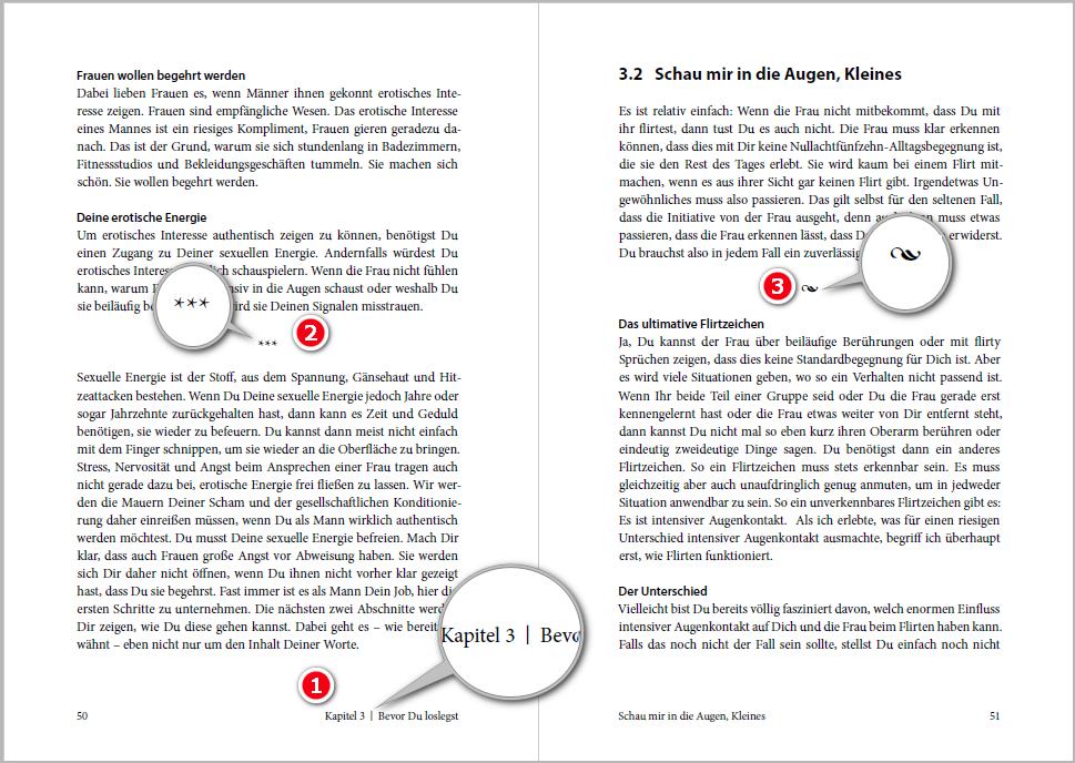 Mit lebenden Kolumnentiteln (1) und verschiedenen Abschnitts-Trennzeichen (2 und 3)