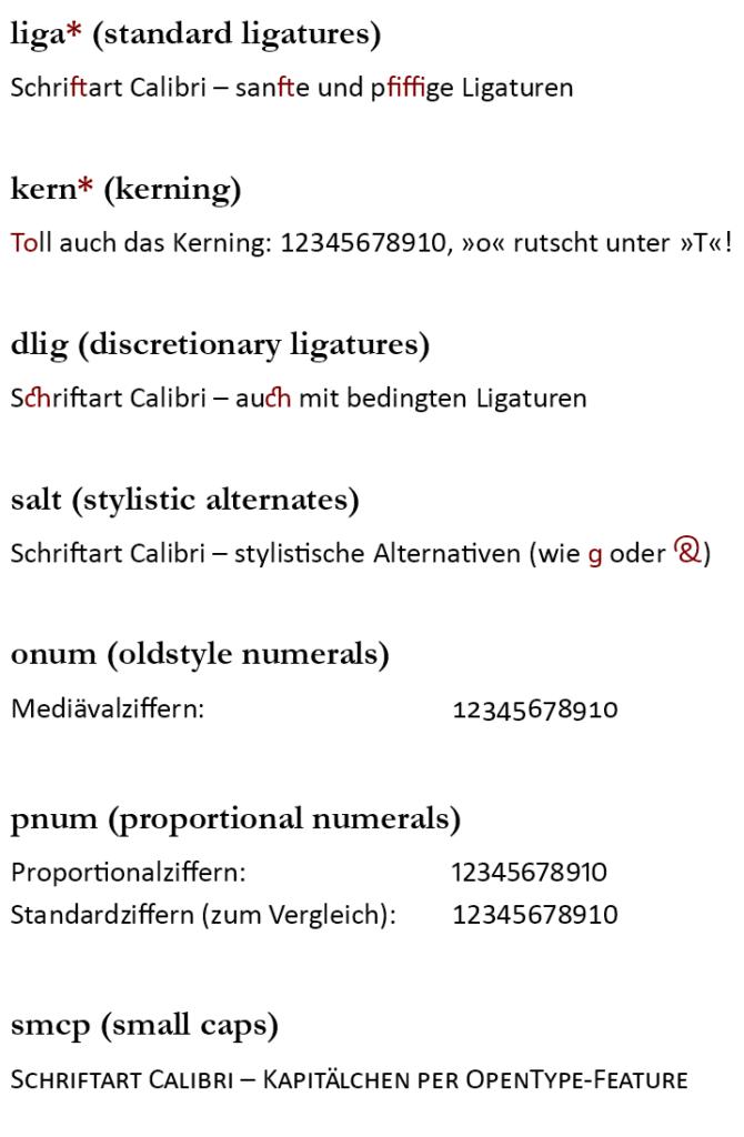 Die neuen OpenType-Features in Writer, vorgestellt von Buchlayouter Johann
