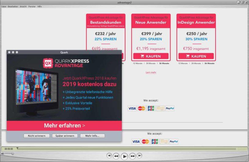 QuarkXPress-Advantage wird richtig teuer (Screenshot: J.-Chr. Hanke)