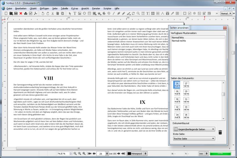 Viel versprechend mit nützlichen Tools (hier Seitenpalette): die Open-Source-Satzsoftware Scribus