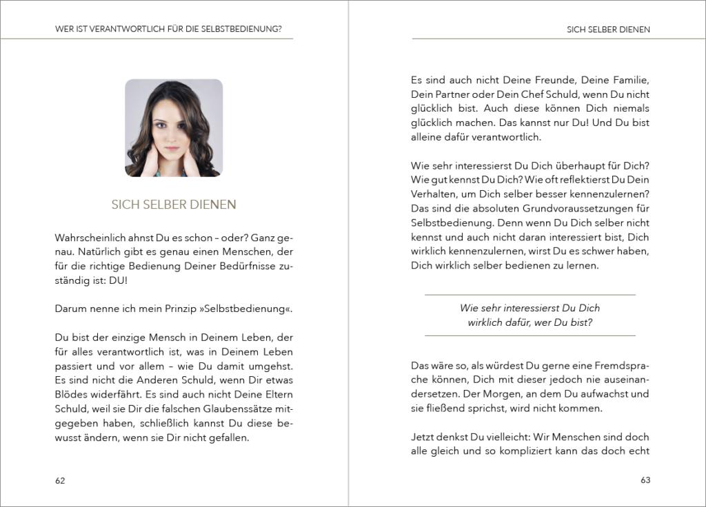 Doppelseite aus Carolin Goßens Karriereratgeber: mit Grafik und Absatzlinien