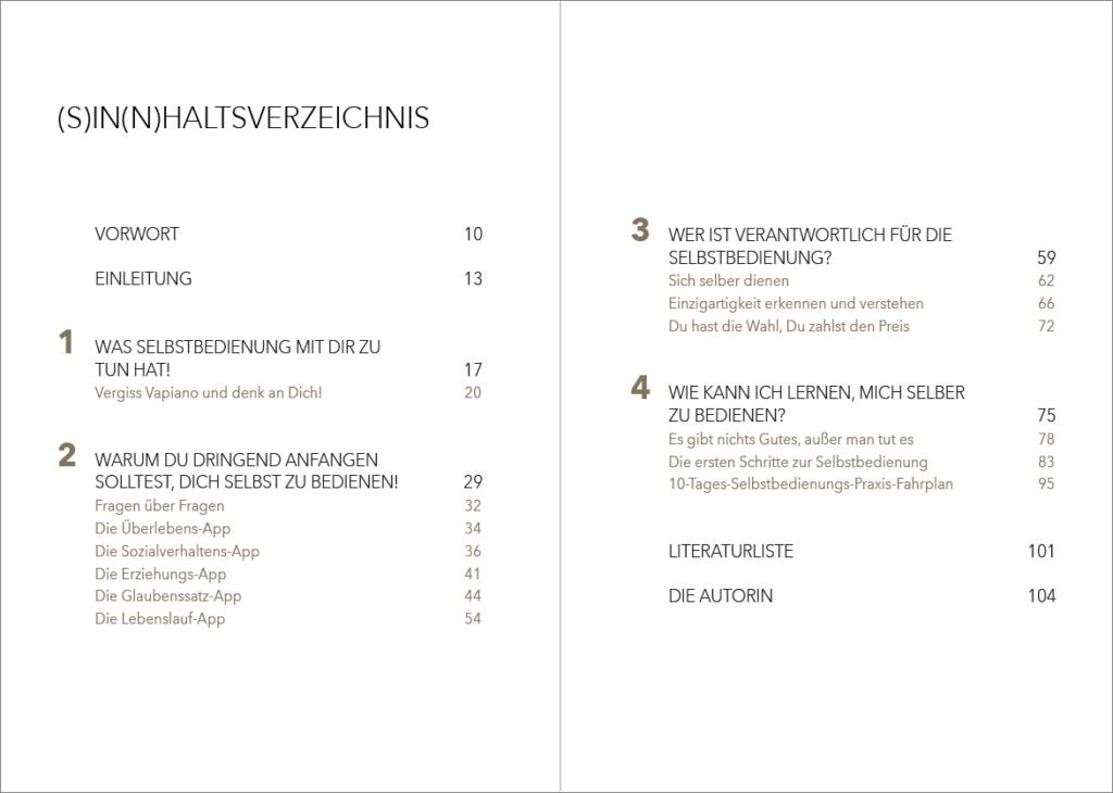 Inhaltsverzeichnis des Buchs von Carolin Goßen, gesetzt von Johann-Christian Hanke