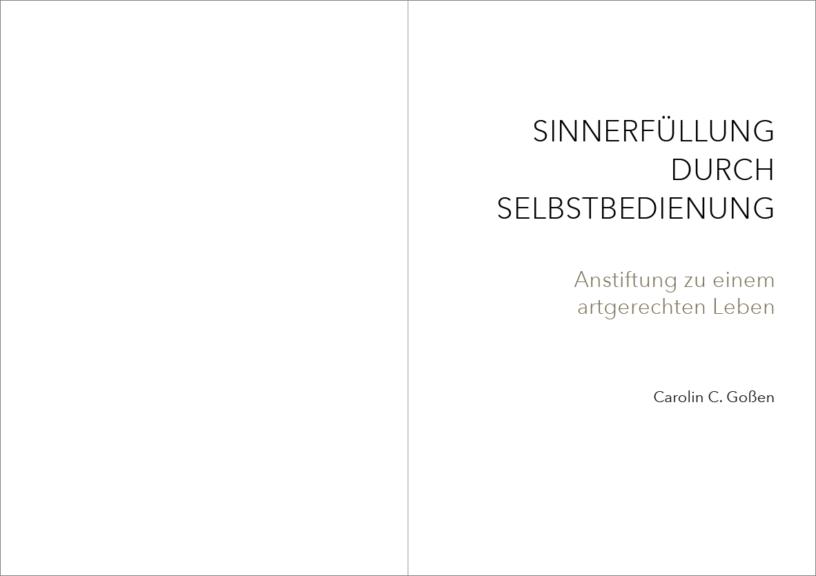 Der Innentitel des Karriereratgebers von Carolin Goßen, gesetzt in der Avenir Next von Adrian Frutiger