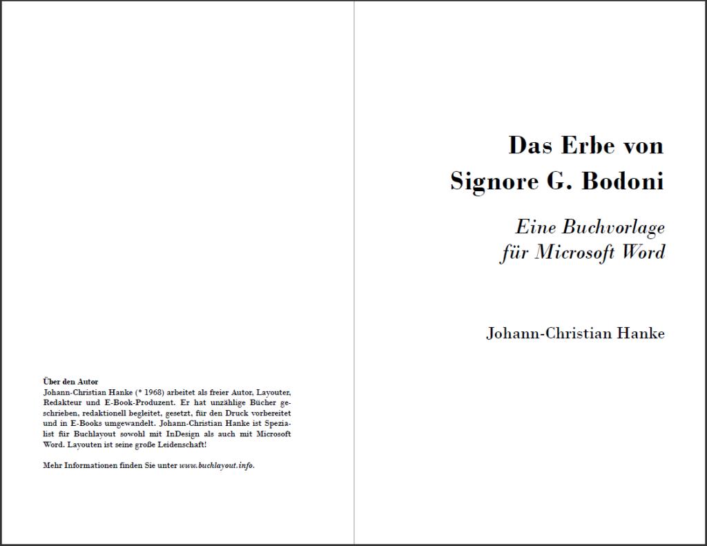 Das Erbe von Signore G. Bodoni: Titelei