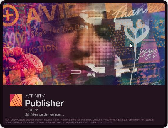 Der Startbildschirm von Publisher 1.9 sieht sehr attraktiv aus.