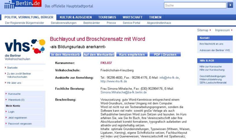 8.-9.5.2017: Kurs zu Buchlayout und Broschürensatz mit Word in Berlin, gehalten von Johann-Christian Hanke