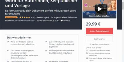 Neuer Kurs von Johann-Christian Hanke: Word für Autorinnen, Selfpublisher und Verlage